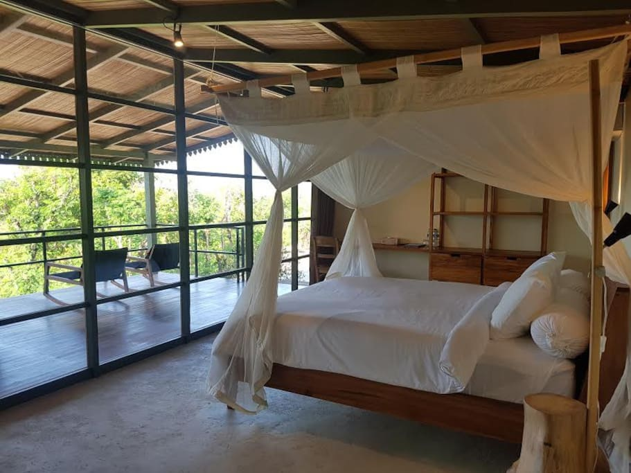 Comfortable double bed with mosquitonet