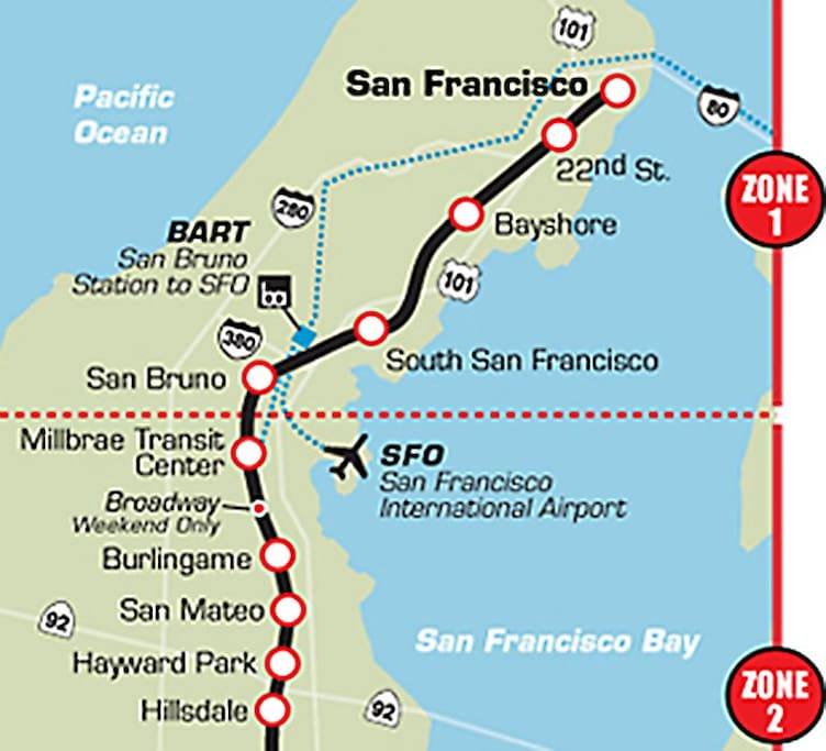 Our home in Millbrae is a perfect location to get to San Francisco and SFO international airport.  BART electric train and CalTrain diesel train to downtown San Francisco.
