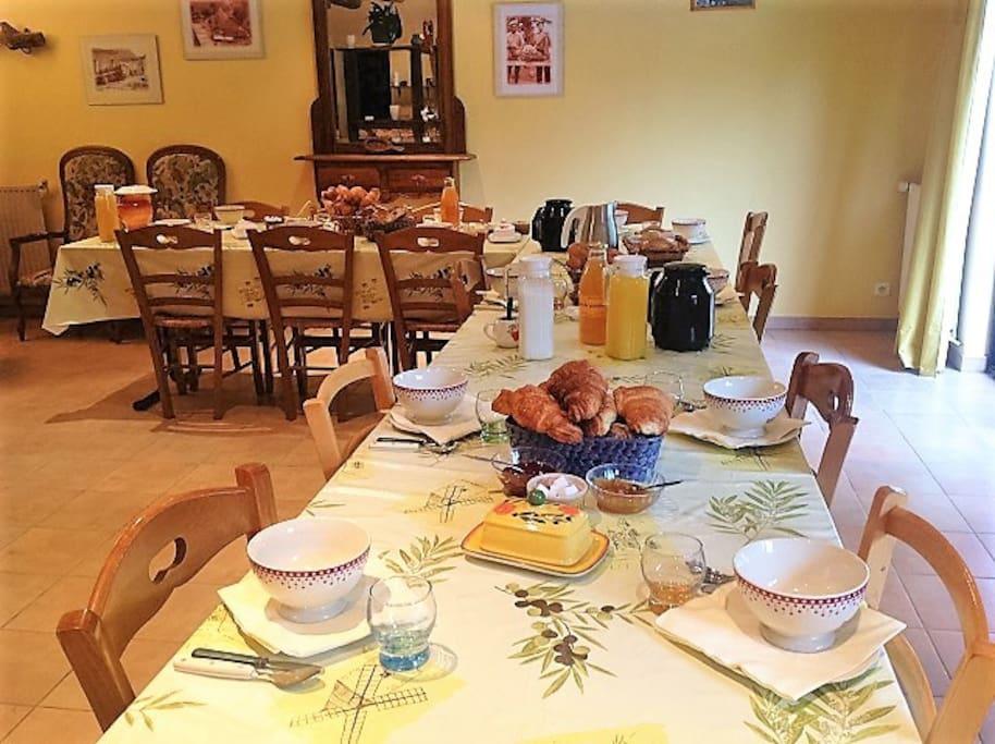 Le petit-déjeuner que nous proposons à nos hôtes