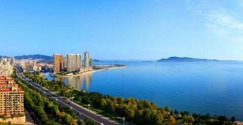 《一舍*喜度》威海环翠区刘公岛旁一线海景房精装修带阳台180度看海,华润威海湾九里