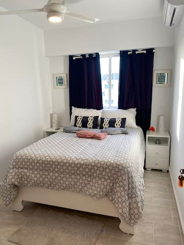 Beautiful Bedroom with a comfortable Queen Size Bed, Spacious Closet and Excellent A/C.  All this and more, managed by: My Place in D.R.