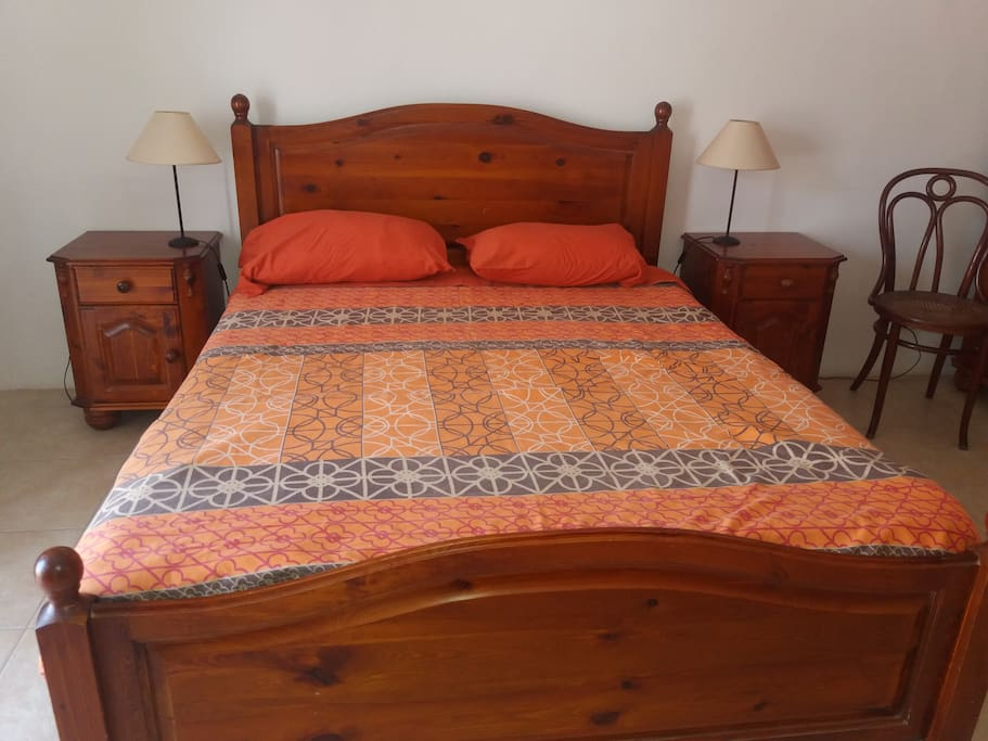 Comfortable wooden bed