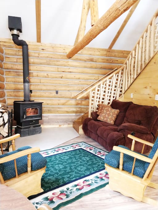 Living Room with Wood Stove but also propane gas heating.