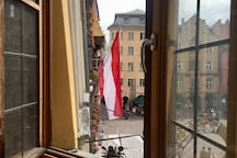 View from the oriel window to Innsbruck's most popular attraction the Golden Roof