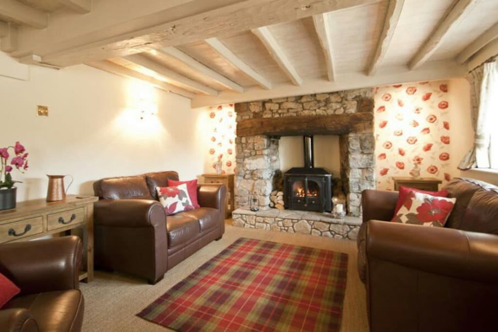 Lounge with inglenook fireplace & Log Burner