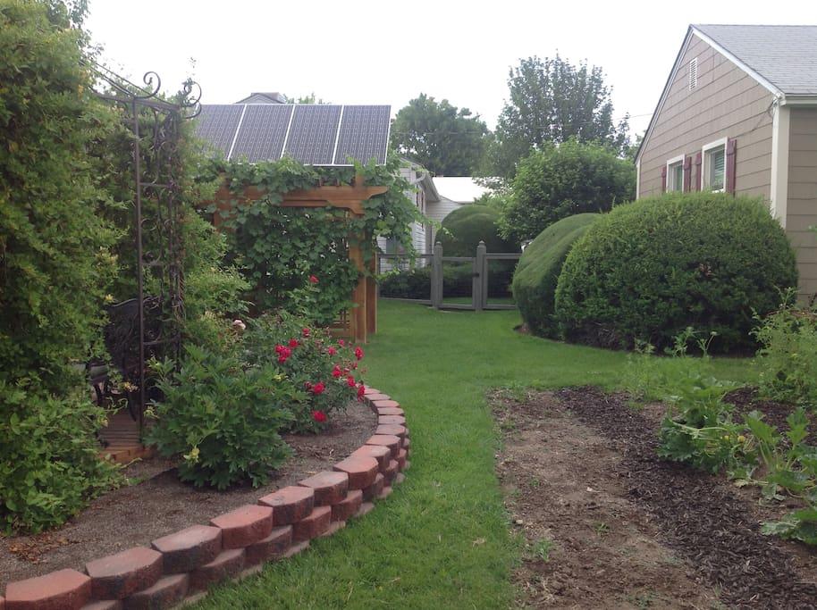 Rear Yard with Atrium and gardens.