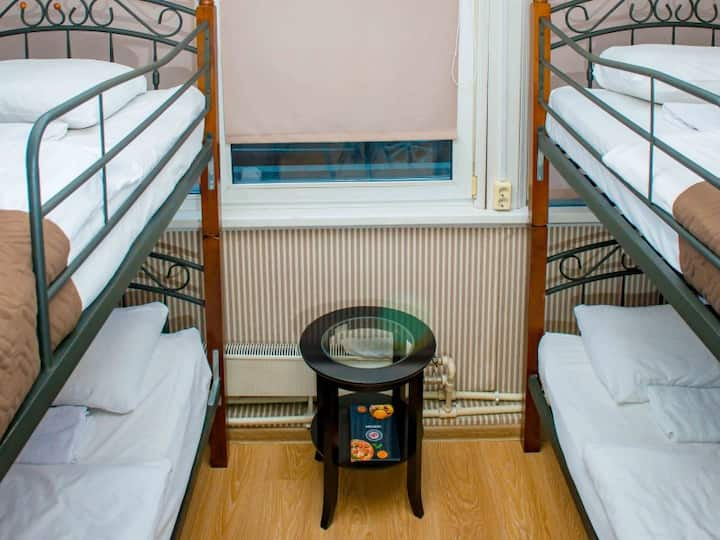 Sleeping place. Astra hostel on Arbat near metro Arbatskaya and Kropotkinskaya, Arbat district, in the heart of Moscow.