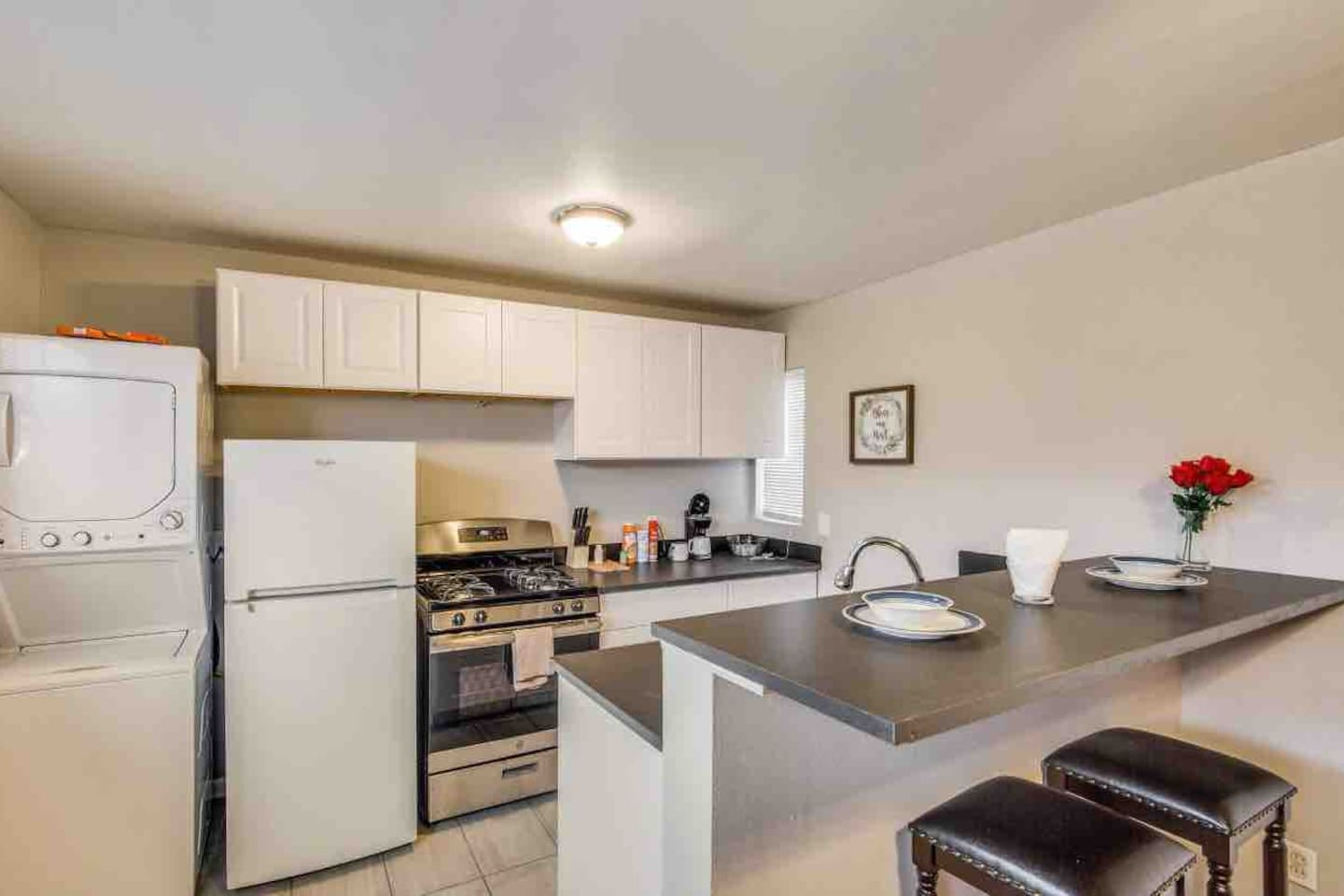 A full kitchen to prepare meals your way. Complete with a washer and dryer.