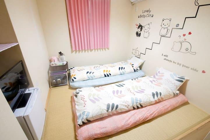 大阪夢想家民宿旅館-貓咪日式雙人房2F-2(超商、超市、地下鐵步行1分鐘,距離難波兩站)