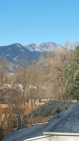 Winter view of Pikes Peak from private rooftop patio
