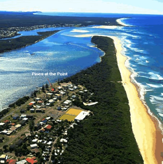 Aerial view showing location of The Pines at Point