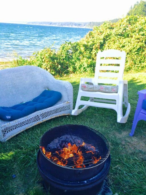 Beachfront fire pit and grill