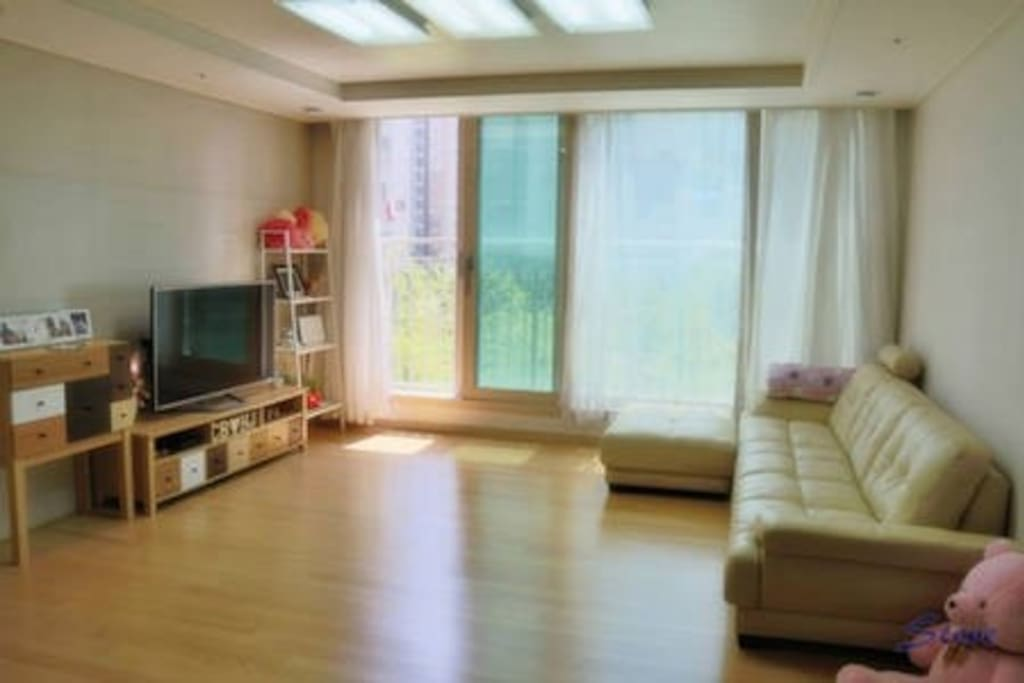 Livingroom with wooden floor and garden view