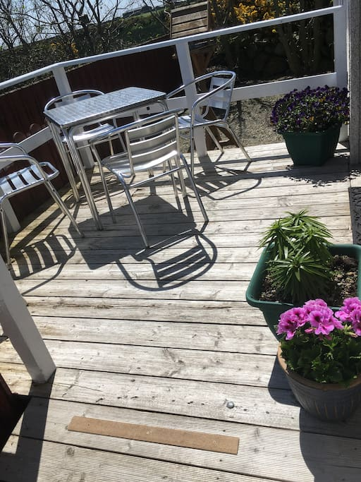 Front patio is the perfect spot to enjoy breakfast with the stunning coastal view - this area is a wee sun trap until early evening