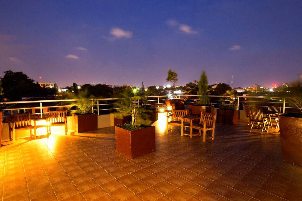 Rooftop garden terrace with awesome panoramic views of Accra
