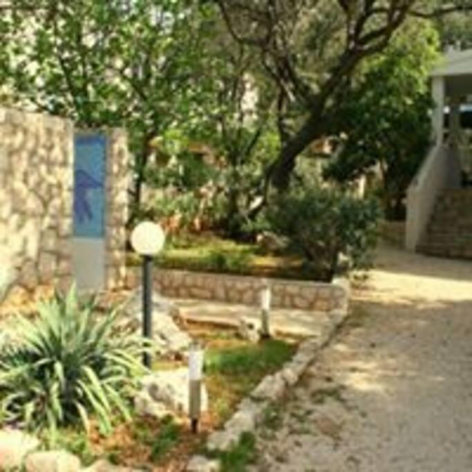 Zugang zum Haus+Gartendusche
