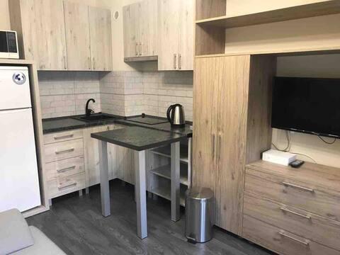 1 комнатная квартира- студия со всеми удобствами.