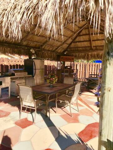 our large gazebo built by the micosukee Indian tribe is perfect for lounging outdoors and enjoying the breeze