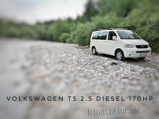 RIVER Soča CamperVan VW T5 near Ljubljana Airport