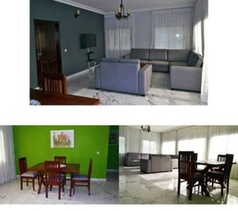 Salon et salle à manger (partagé)  Appartement très lumineux