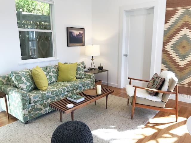 Sunny and Private Mid-Century Modern Backhouse