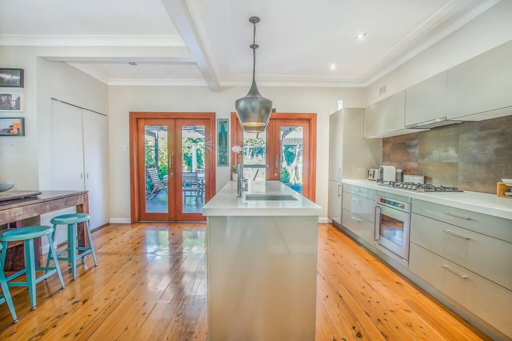Kitchen with large Bi Fold Doors