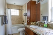 2nd Bath with shower tub/combo and granite counter-tops