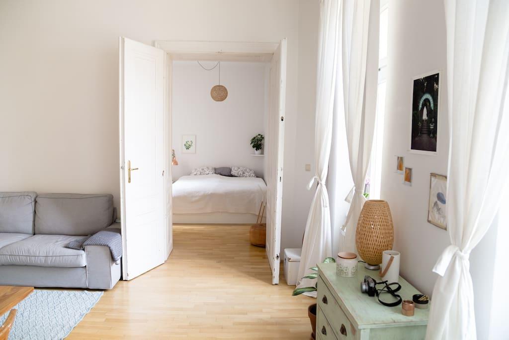living room looking into bedroom