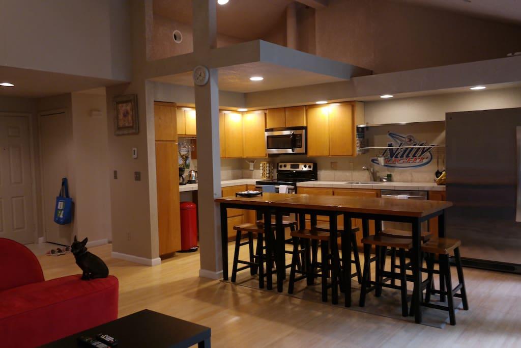 Kitchen with massive refridgerator