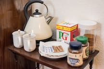 Tea, coffee and sugar (possibly biscuits too! - not guaranteed!) available in your room. Fresh milk is in the Fridge in the kitchen.