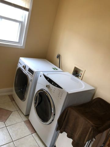 large laundry room with new machines!