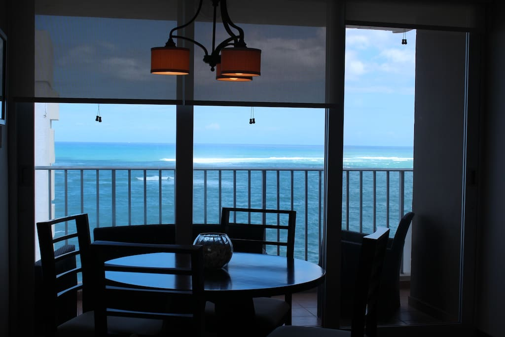 Looking out past the dining area at the Atlantic Ocean
