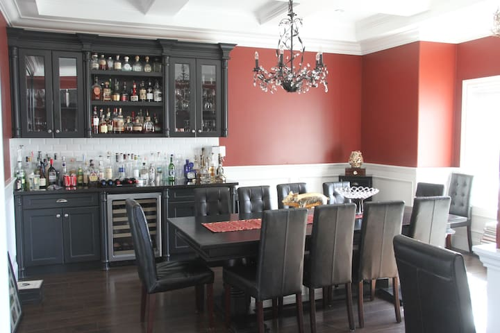 Dining room holds up to 12 people.