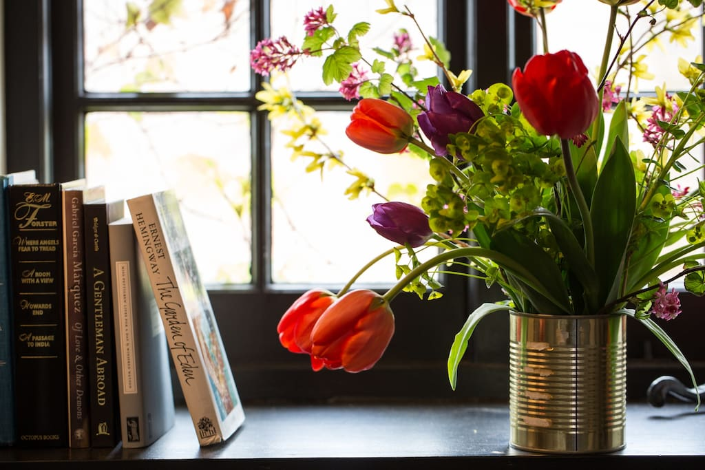 Fresh flowers and books to read