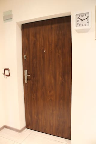 Front door with extra security.