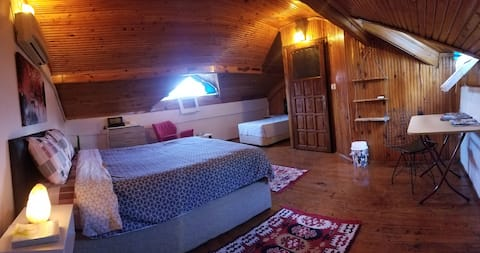 Attic room in authentic stone house