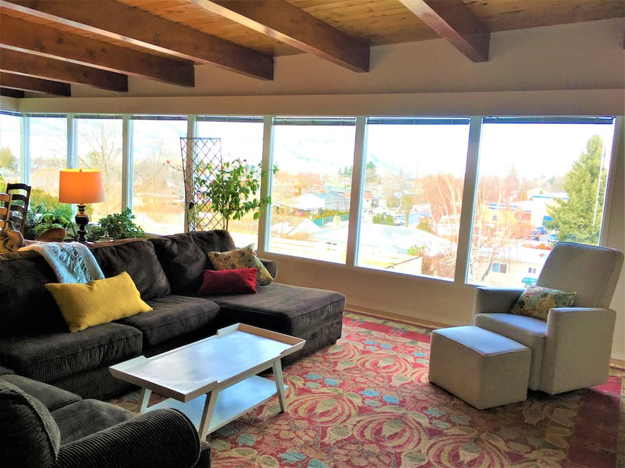 A comfortable living room with great views.