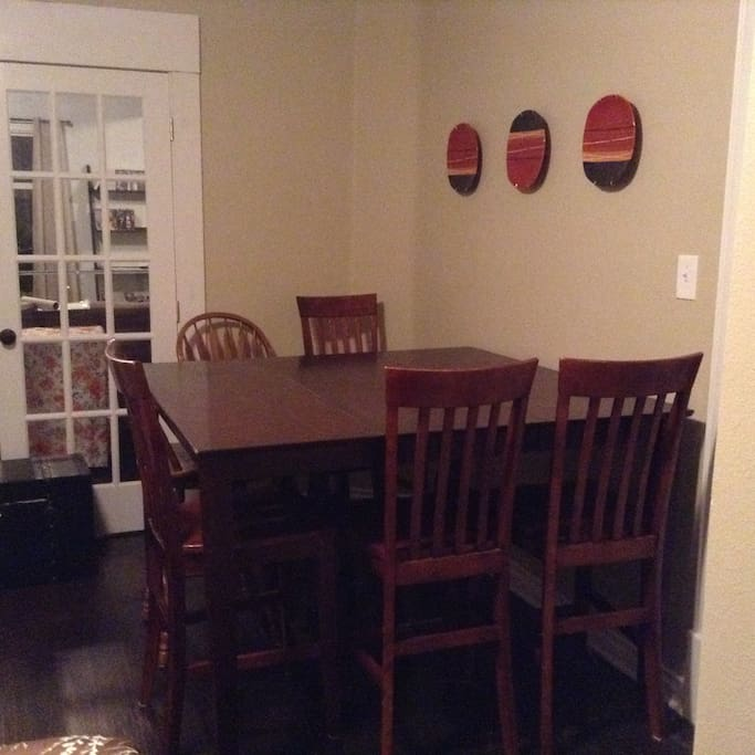 Dining table to have coffee/tea/meals or set up a laptop workstation
