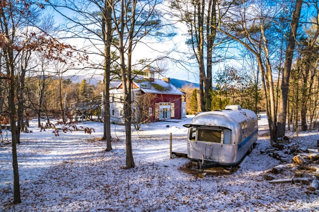 Airstream camper, barn and view of Overlook Mountain