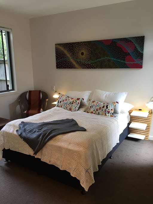 The bedroom Queen bed