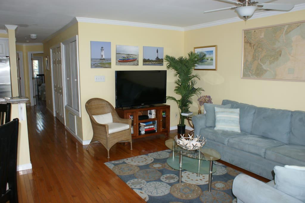 The living area.  The condo has hardwood floors throughout.