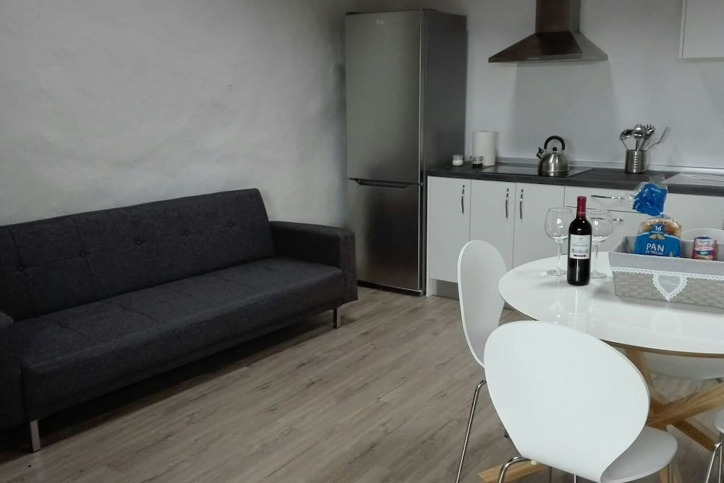 kitchen and large armchair.