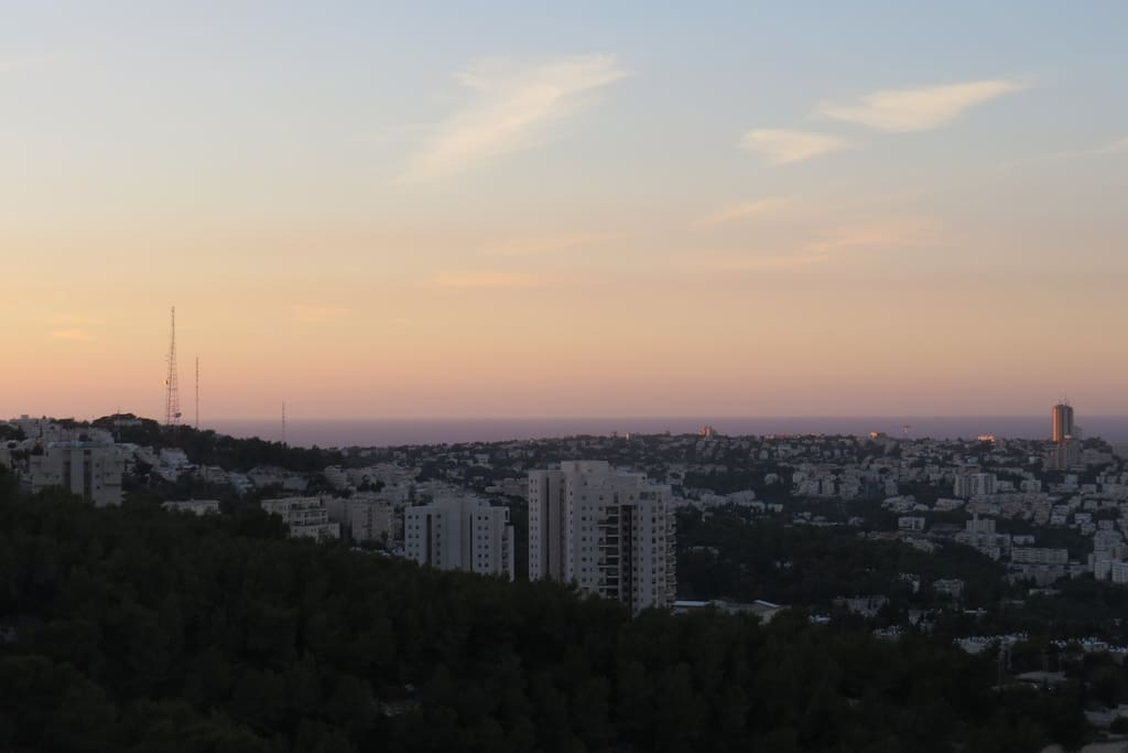 The view with sun set