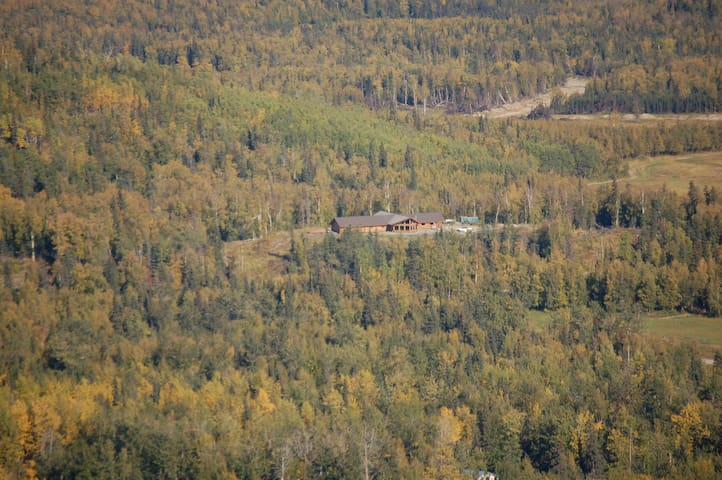 Aerial shot of Log Home on hill surrounded by 70 acres