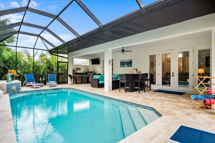 Walk to Beach, JW & More from this Unique & Luxurious Home ~Private Lanai w/Heated Pool & WiFi