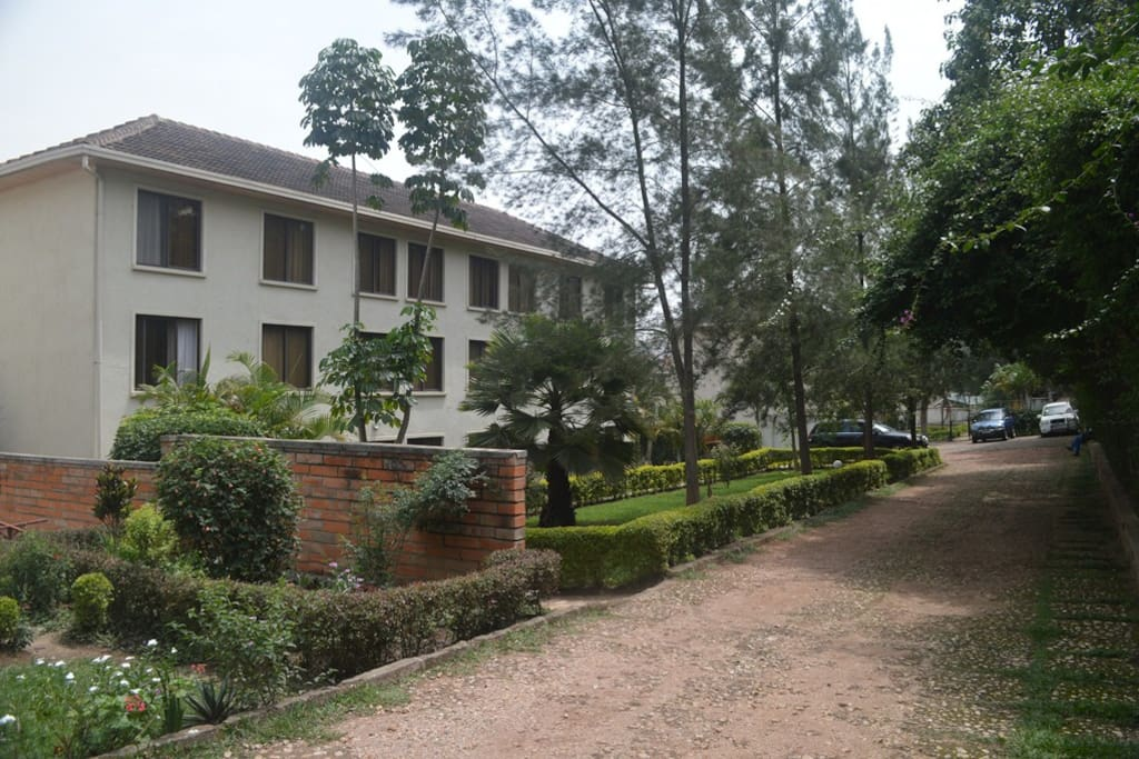 Driveway, showing the apartment block