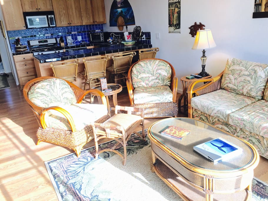 Comfortable island furniture - the sofa converts to a queen sized sleeper. Cable, surround sound, & DVD player for your enjoyment.