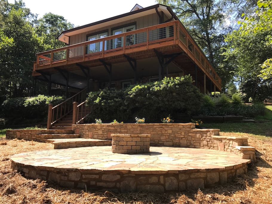 Another level of outdoor space. Brand new fire pit patio. Perfect view of lake Hartwell