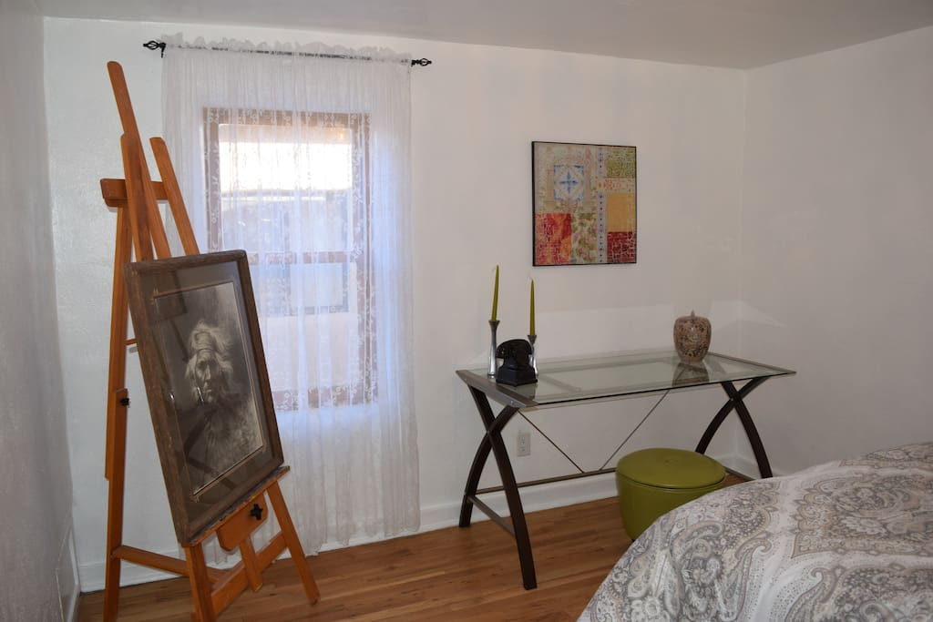 There is one bedroom in this casita. It has a new queen bed plus a small desk area.
