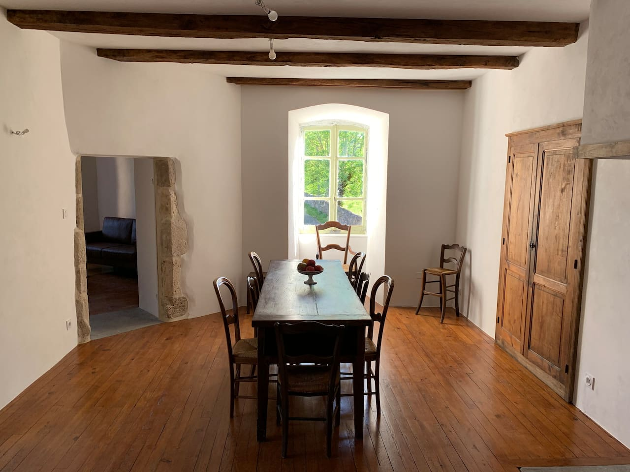 Dining room with antique farm table